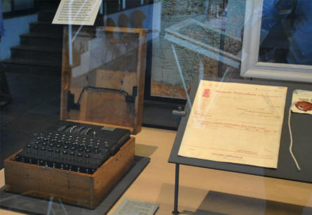 A German World War II Enigma coding/decoding machine can be seen at the Museum of Danish Resistance in Copenhagen.
