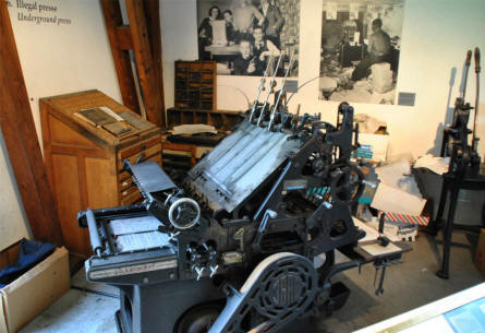 An illegal print shop can be seen at the Museum of Danish Resistance in Copenhagen. The illegal Danish press was very active during World War II.