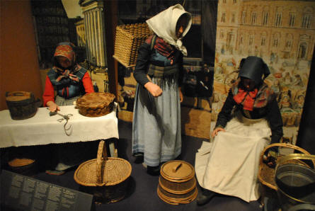 Some of the traditional Danish 1800's clothes displayed at the main branch of the Danish National Museum. These women were selling fish at a central square close to where the museum is today.
