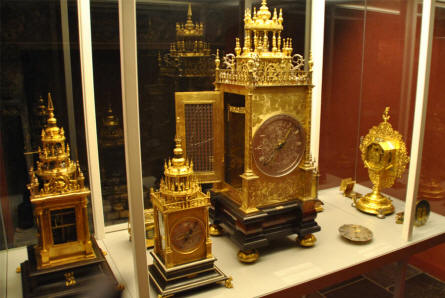 Some of the beautiful golden watches displayed at the main branch of the Danish National Museum.