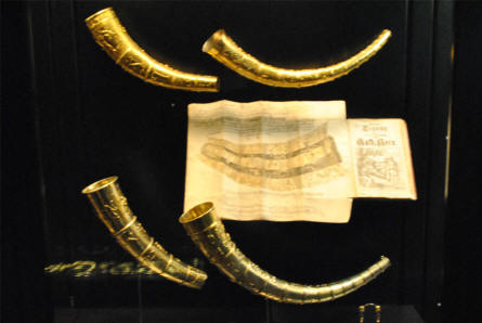 "The historical ""Golden horns of Gallehus"" (Guldhornene) displayed at the main branch of the Danish National Museum. These horns date to the early 5th century. They were found in 1639 and in 1734, but today only a replica is left as the original horns were stolen and melted down in 1802."
