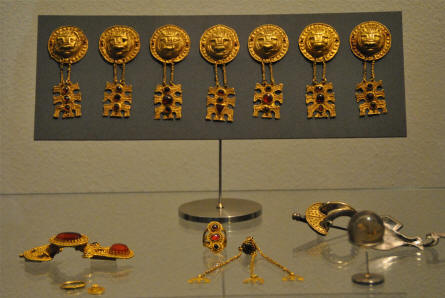 Some of the beautiful ancient golden jewellery displayed at the main branch of the Danish National Museum