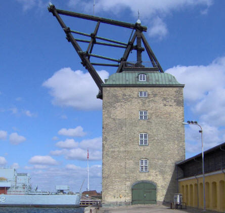 "The old mast crane at the old Danish Naval Base ""Holmen"" in Copenhagen. This crane is a very well known landmark in Copenhagen."