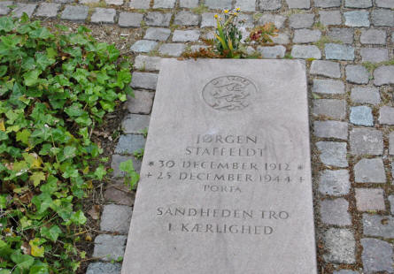 "The grave of the Danish Freedom Fighter Jørgen Staffeldt, who were caught and died in the German ""work camp"" Porta. He is now buried at the Ryvangen Memorial Park."