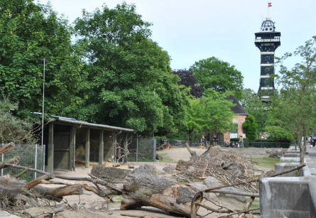 The famous watch tower at the Copenhagen Zoo.