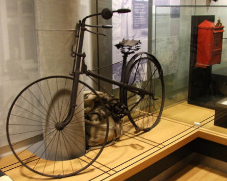 An old bicycle is displayed at the Funen Village Open-air Museum.