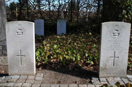 Some of the The RAF War Graves at Odense Assistens Cemetery.