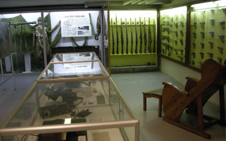 Some of the many World War II weapons displayed at the Aarhus Occupation Museum.