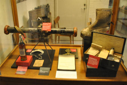 Some of the many German World War II items displayed at the Aarhus Occupation Museum.