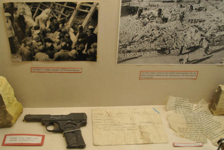 Items that have survived one of the Royal Air Force attacks on target in Aarhus - displayed at the Aarhus Occupation Museum.