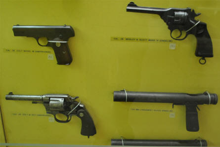 Some of the many World War II pistols displayed at the Aarhus Occupation Museum.