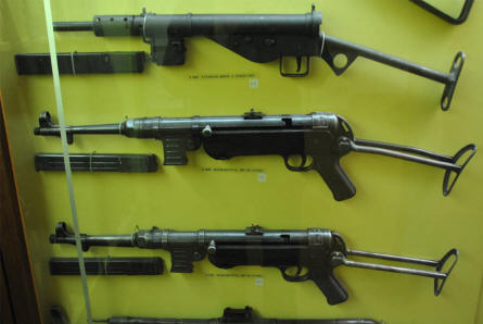 Some of the World War II submachine guns displayed at the Aarhus Occupation Museum.