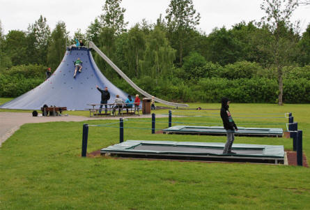 Trampolines and a climbing tower at Djurs Sommerland.