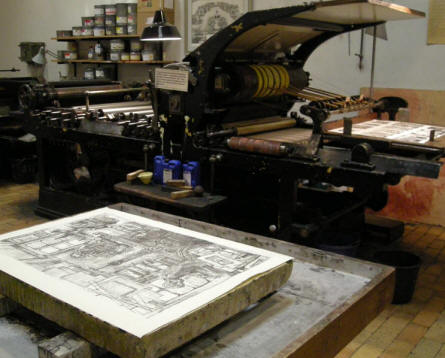 Historic printing equipment at the Industrial Museum in Horsens.