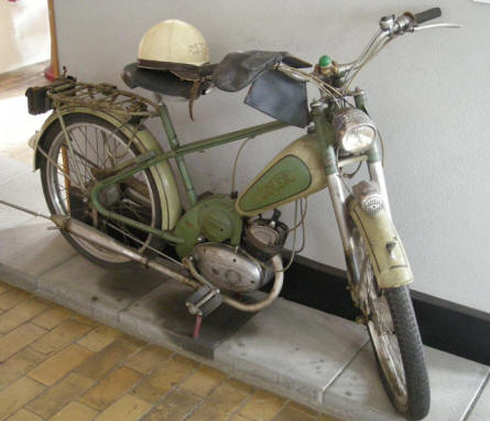An old moped at the Industrial Museum in Horsens.