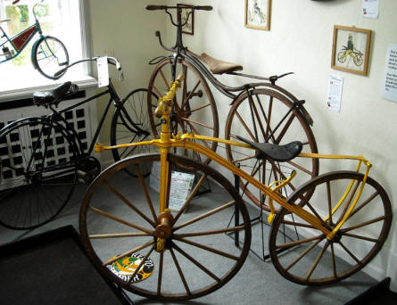 Some of the very early bicycles that are displayed at Denmark's Bicycle Museum.