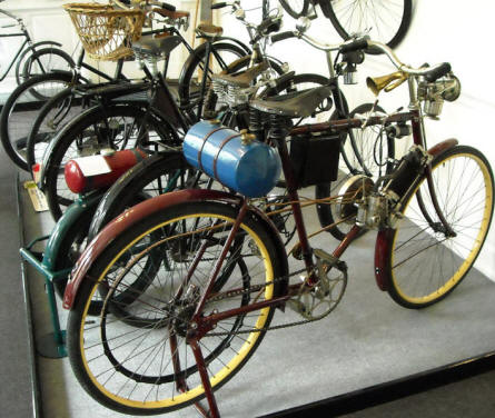 Bicycles with auxiliary motor displayed at Denmark's Bicycle Museum.