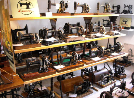Some of the many sewing machines that are displayed at Denmark's Bicycle Museum.