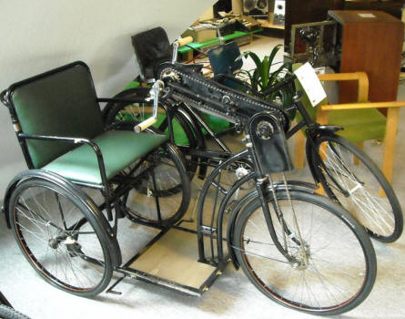 A vintage hand-driven bicycle for disabled or elderly persons displayed at Denmark's Bicycle Museum.