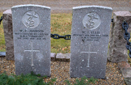Two of the British World War I war graves at the Frederikshavn War Cemetery.