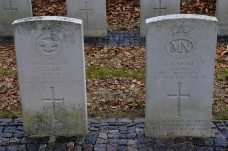 The graves of a British Royal Air Force soldier and a British Merchant Navy sailor at the Frederikshavn War Cemetery.