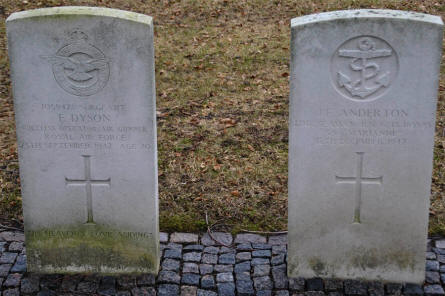 The graves of a British Royal Air Force soldier and a British Royal Navy soldier at the Frederikshavn War Cemetery.