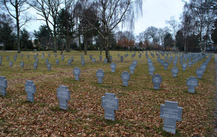 Some of the many German World War II graves at the Frederikshavn War Cemetery.