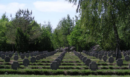 Some of the many German graves at Grove War Cemetery.