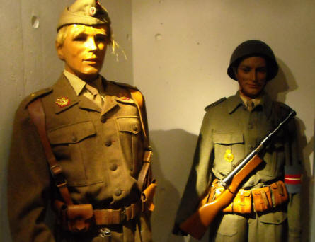 Danish World War II and 1950's soldiers displayed as a part of the military collection at Holstebro Museum.