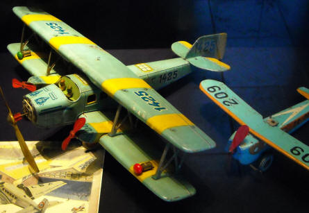 A vintage tin aircraft displayed as a part of the toys collection at Holstebro Museum.
