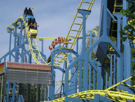 One of the roller coasters at the Karolinelund amusement park in Aalborg.