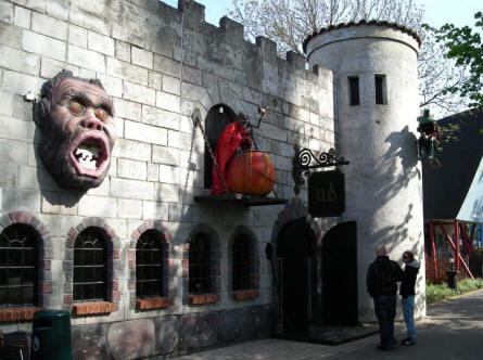 "The entrance to the ""house of horror"" at the Karolinelund amusement park in Aalborg."