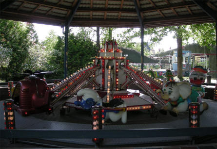 One of the childrens carousels at the Karolinelund amusement park in Aalborg.