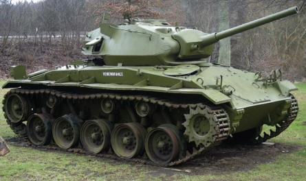 A Danish M24 Chaffee light tank t at at the Danish Soldiers Memorial at Rindsholm Inn.