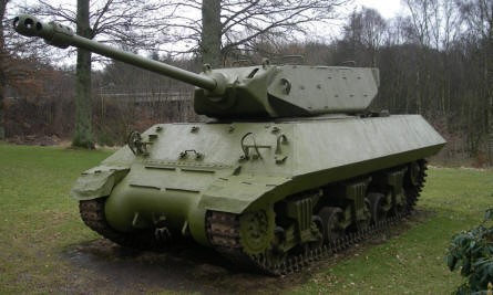 A Danish M10 Achilles tank destroyer at at the Danish Soldiers Memorial at Rindsholm Inn.