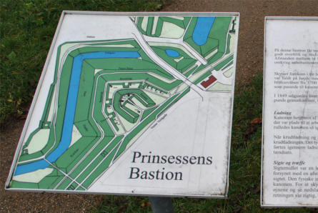 One of the many informative signs at the Fredericia Ramparts. This one shows the layout of one of the nine bastions that are a part of the rampart.