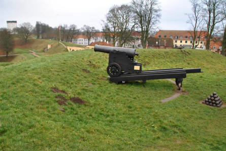 One of the many vintage canons displayed at the Fredericia Ramparts.