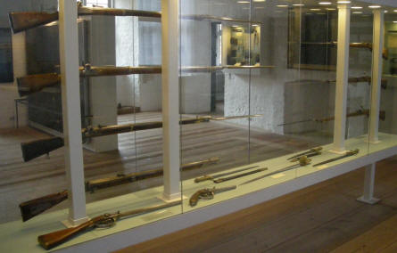 Some of the many rifles that are a part of the military collection at Sønderborg Castle.