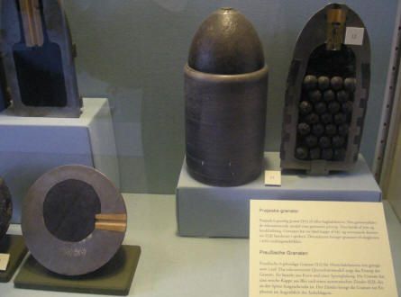 Cut-away grenades that are a part of the military collection at Sønderborg Castle.