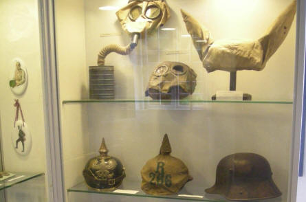 German World War I helmets and gasmasks are a part of the military collection at Sønderborg Castle.