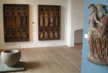 Religious figures are a part of the wood carving collection at Sønderborg Castle.