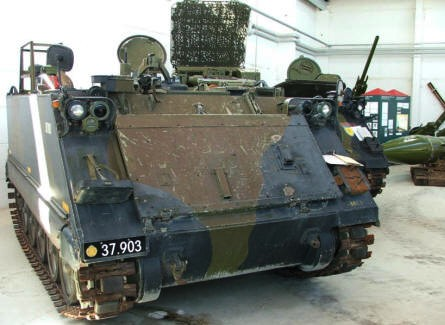 A M113 armoured personnel carrier - used for artillery guidance - at Varde Artillery Museum.