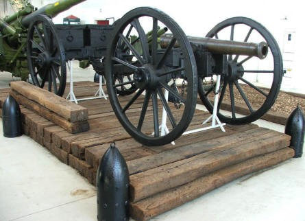 An old horse drawn artillery gun at Varde Artillery Museum.
