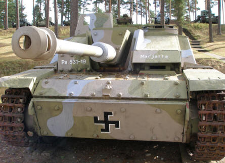 A German built World War II panzer - Sturmgesch�tz III - with Finish markings at the Tank Museum at Parola.