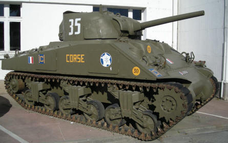 An American World War II Sherman tank at the Saumur Tank Museum (Musée des Blindés).