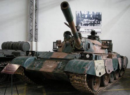 "A Russian ""Cold War"" T-55 tank at Saumur Tank Museum (Mus�e des Blind�s)."
