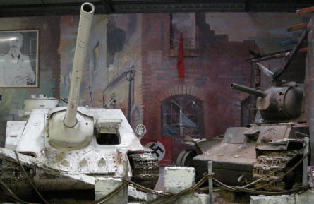 Two of the Russian World War II tanks at Saumur Tank Museum (Mus�e des Blind�s).