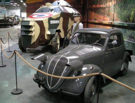 A home-made French World War II tank and 1935 Fiat at the Saumur Tank Museum (Musée des Blindés).