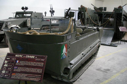 An American World War II landing crafts and armoured vehicles at the Saumur Tank Museum (Musée des Blindés).