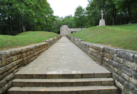 "The ""Bayonet Trench"" World War I memorial - seen from the entrance to the memorial."